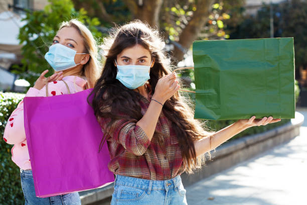 Shopping during the coronavirus pandemic stock photo