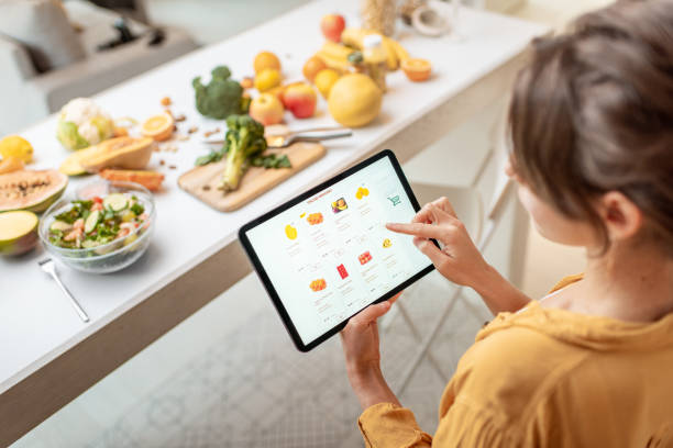 Shopping food online stock photo