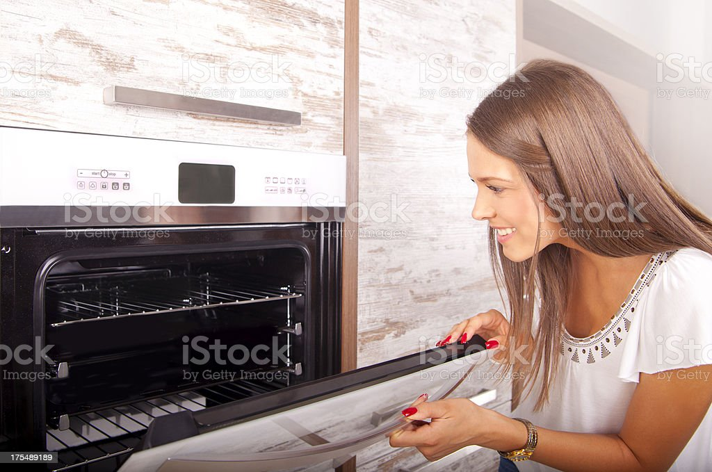 Shopping for a new kitchen stove stock photo