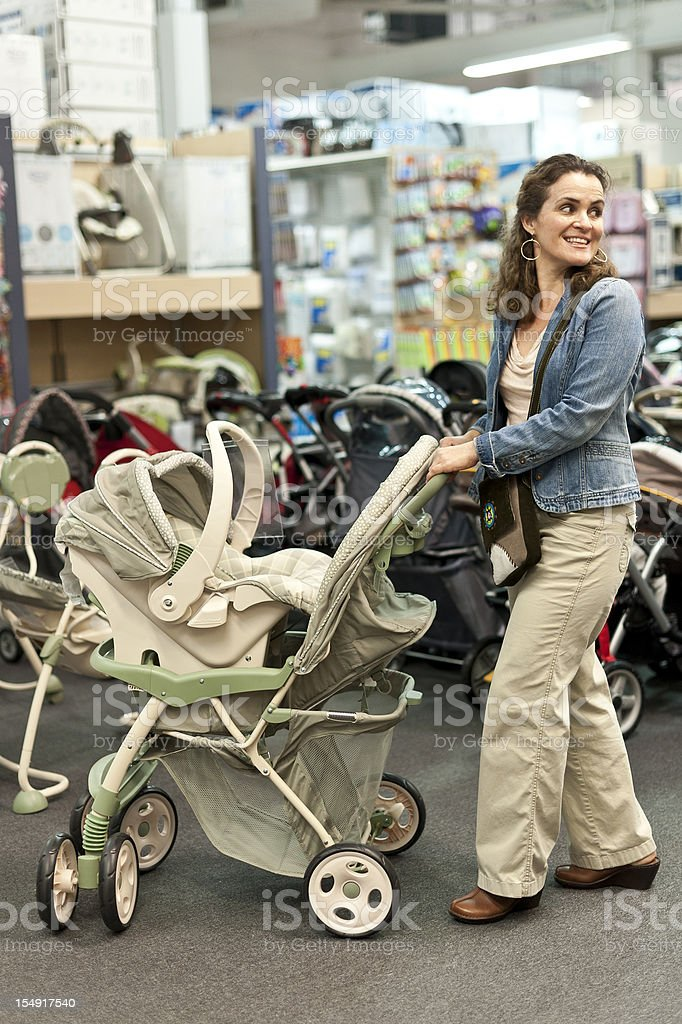 Shopping for a new stroller stock photo