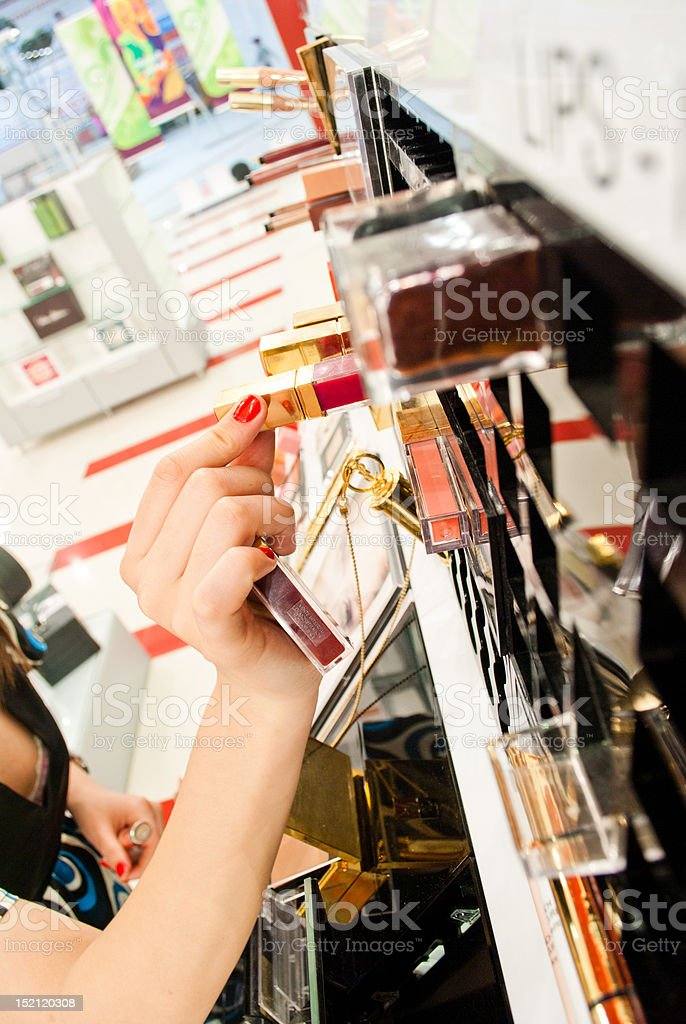 Shopping for cosmetics royalty-free stock photo