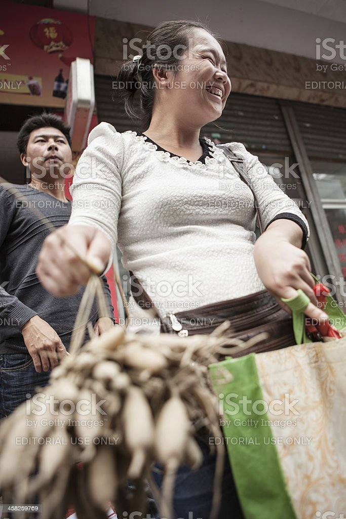 Shopping for food in China stock photo