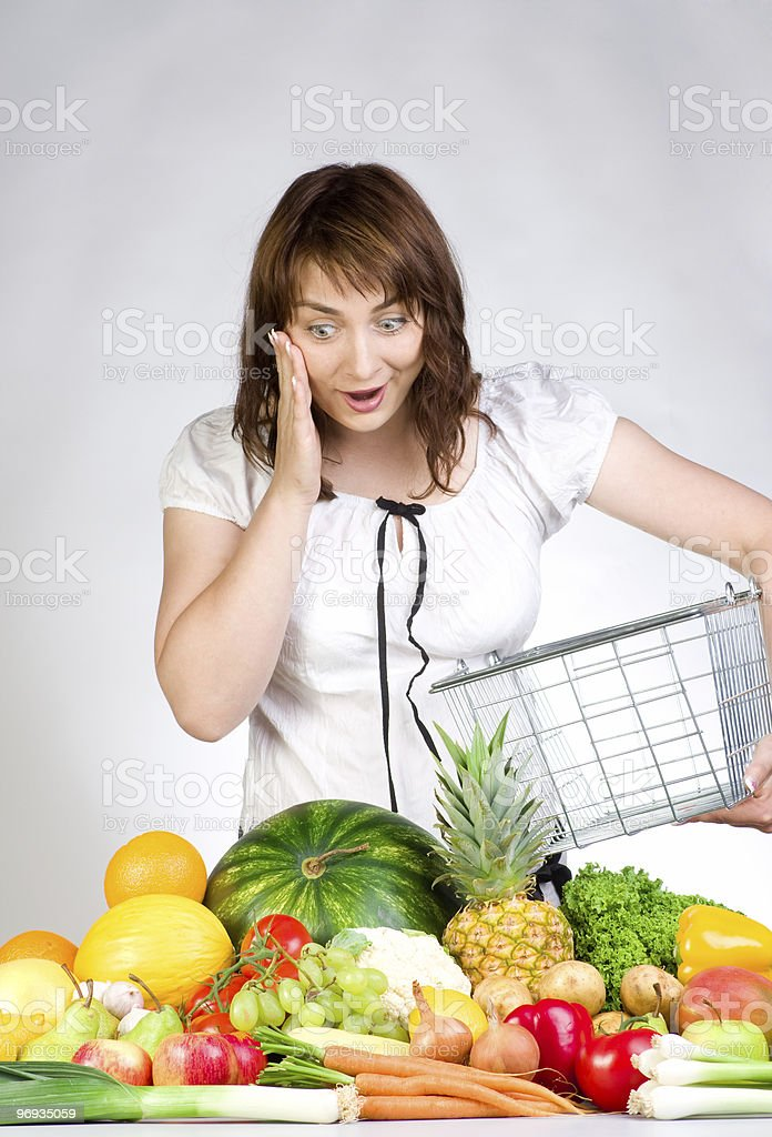 Shopping for fruits and veggies royalty-free stock photo