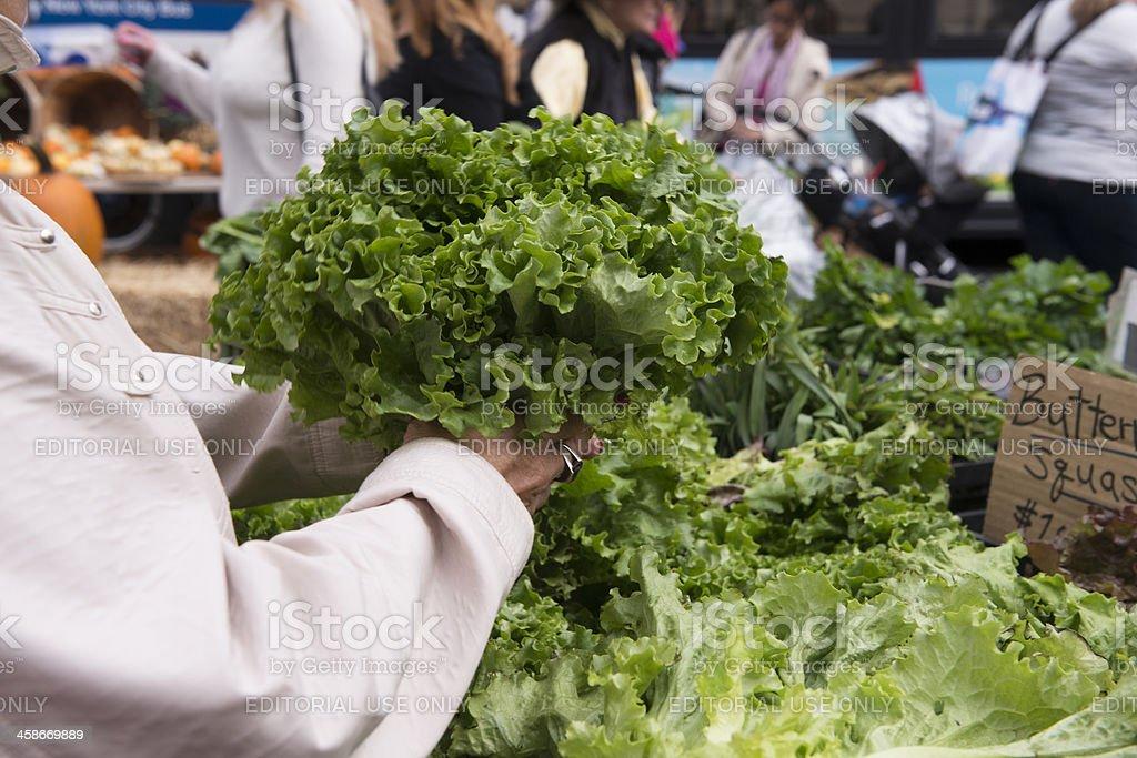Shopping for Green Produce at NYC Farmer's Market stock photo