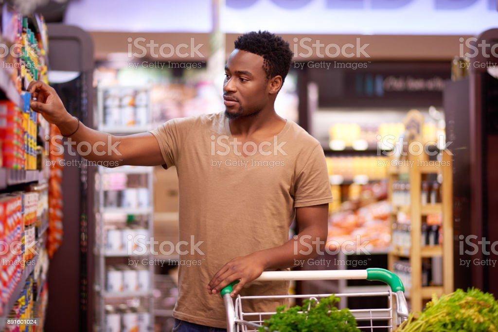 Shopping for his favorite brands stock photo