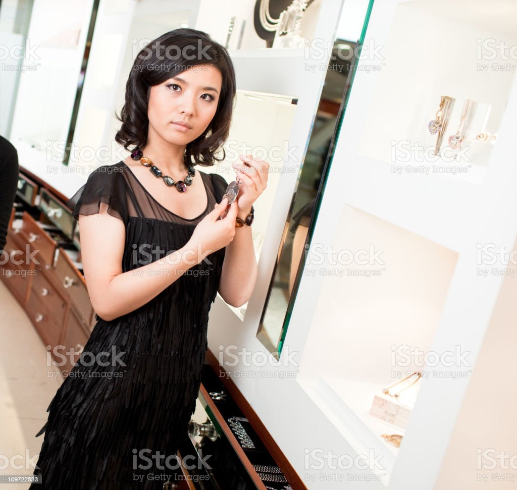 Shopping for jewelry royalty-free stock photo