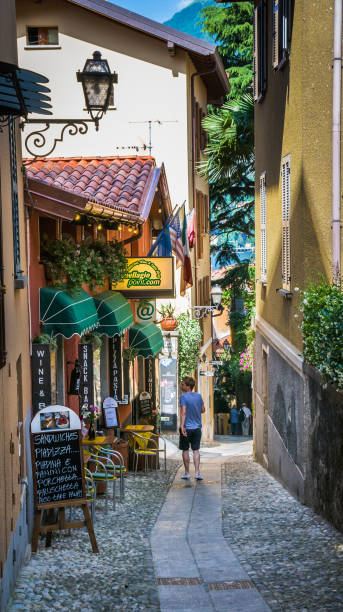 shopping for lunch - lake como stock photos and pictures