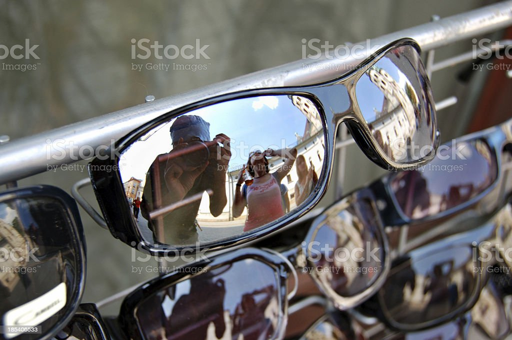 shopping for sunglasses stock photo