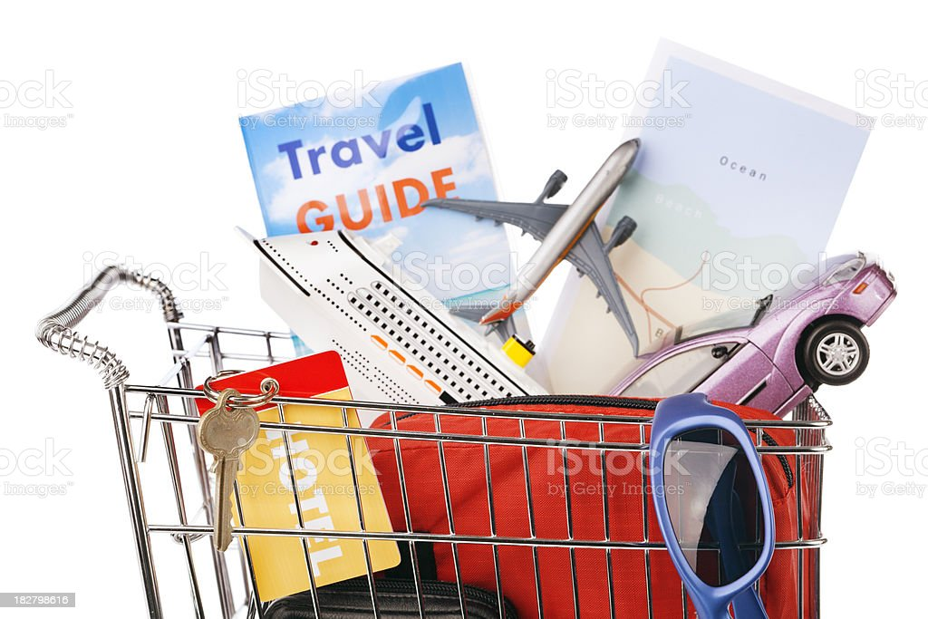 Shopping for Vacation Package- Hotel, Flight, Cruise, Car Rental Hz royalty-free stock photo