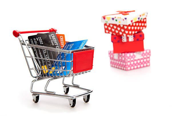 Shopping for Valentine's Day stock photo