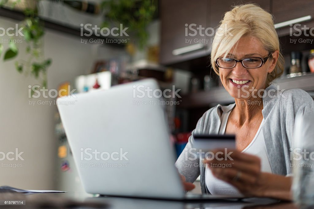 Shopping from home stock photo