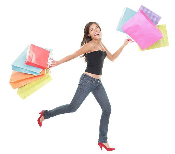 shopping-spaß - damen jeans sale stock-fotos und bilder