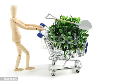 Shopping garden utensils and plant with shopping cart. Wooden mannequin. Isolated background.