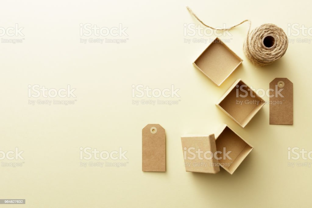 Shopping: Gift Boxes, Rope and Labels Still Life royalty-free stock photo
