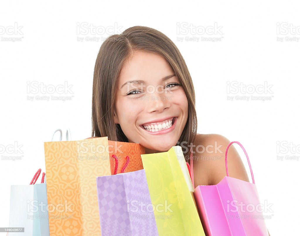 Shopping girl face royalty-free stock photo