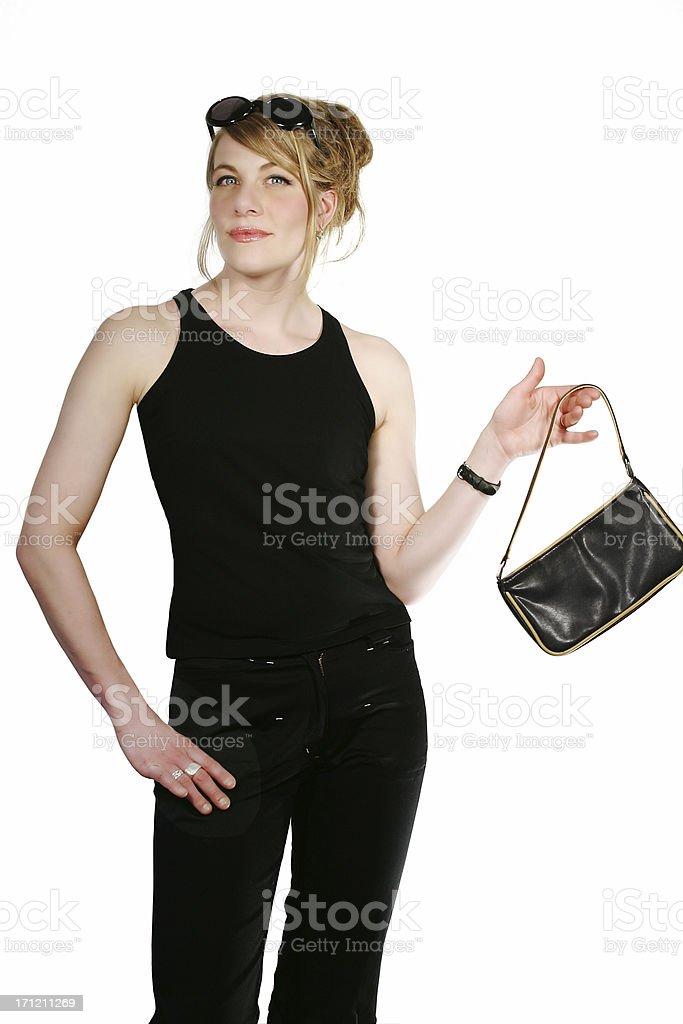 Shopping girl (isolated) royalty-free stock photo