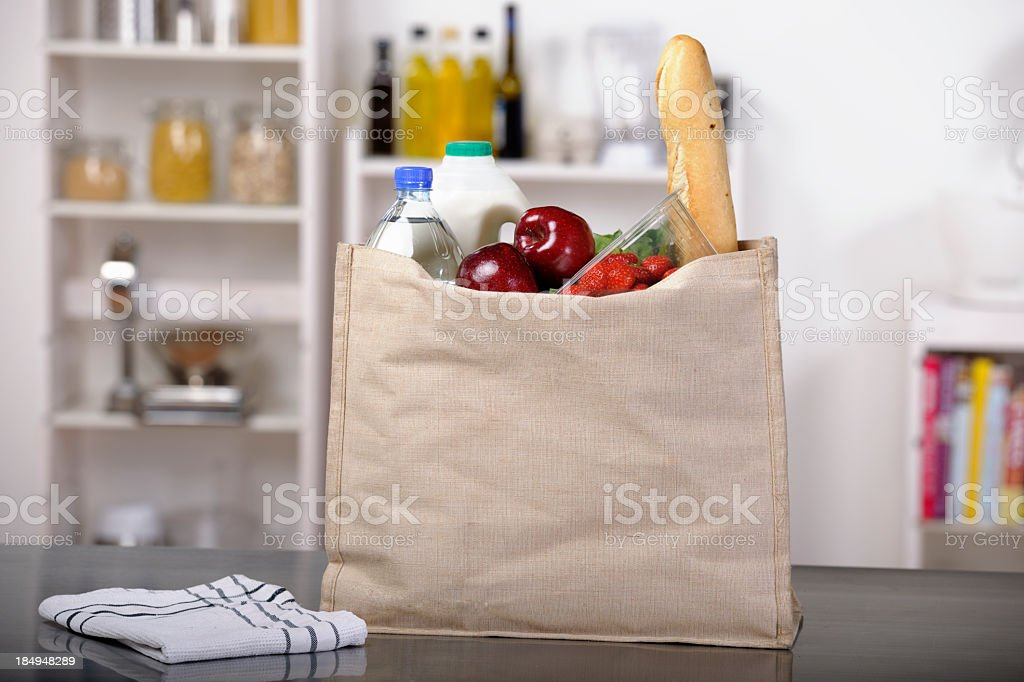 Shopping/ Groceries In An Environmental/ Eco Friendly Bag stock photo