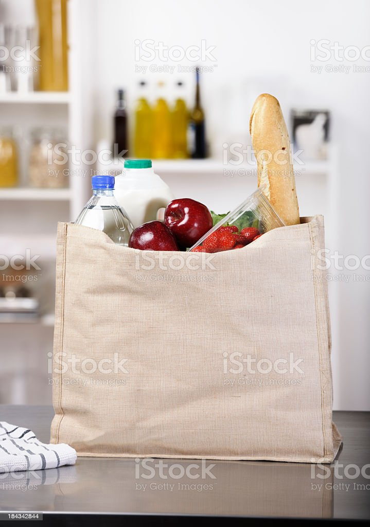 Shopping/ Groceries In An Environmental Friendly Bag stock photo