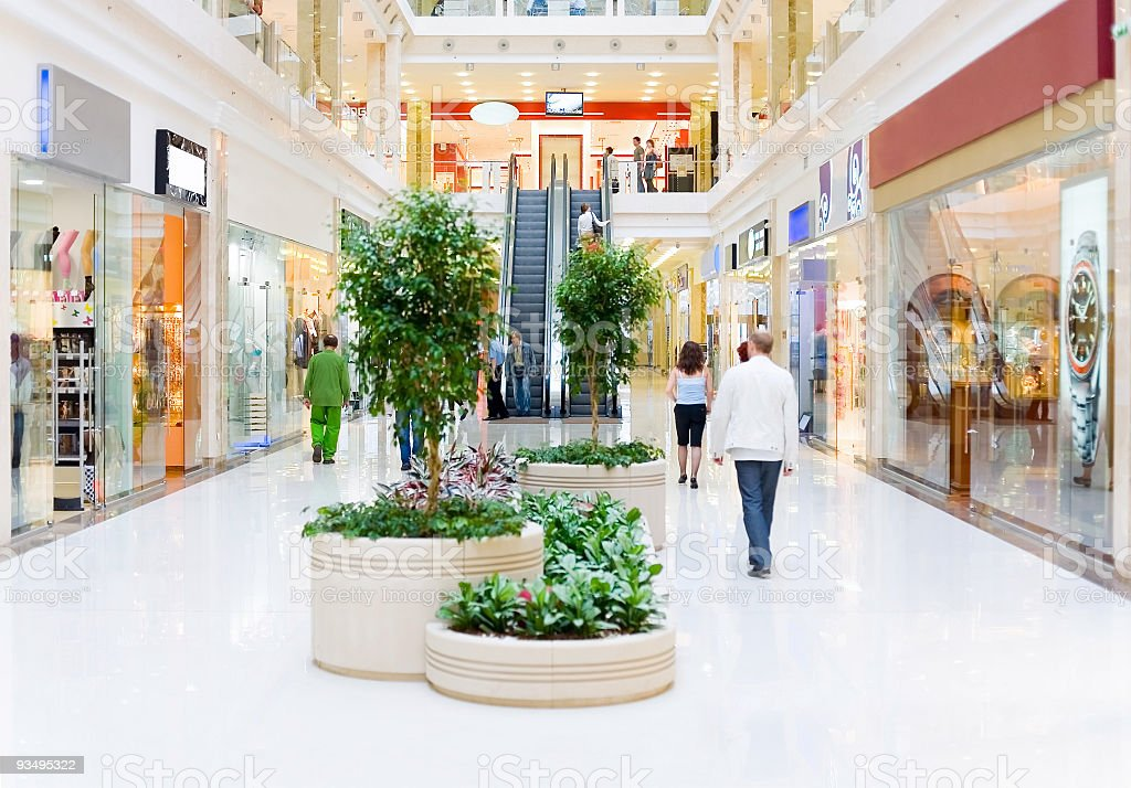 Shopping hall #4. Motion blur stock photo