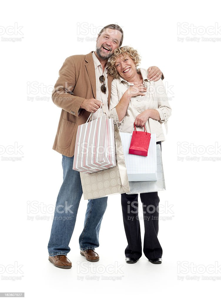 shopping: happy mature couple royalty-free stock photo