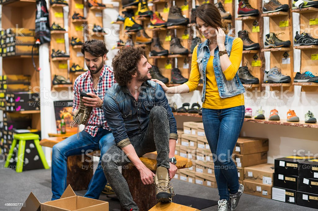 Shopping hiking shoes stock photo