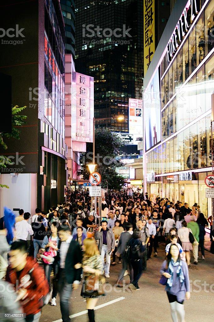 Shopping in Causeway Bay at night, Hennessy Road, Hong Kong stock photo