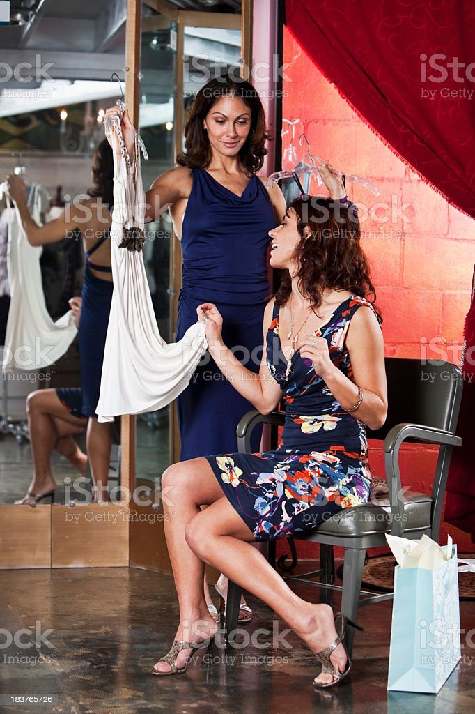 Shopping in clothing boutique royalty-free stock photo