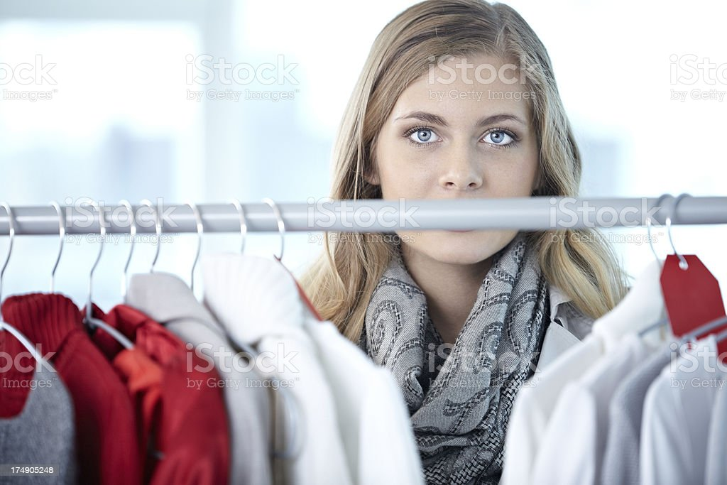Shopping in clothing store royalty-free stock photo