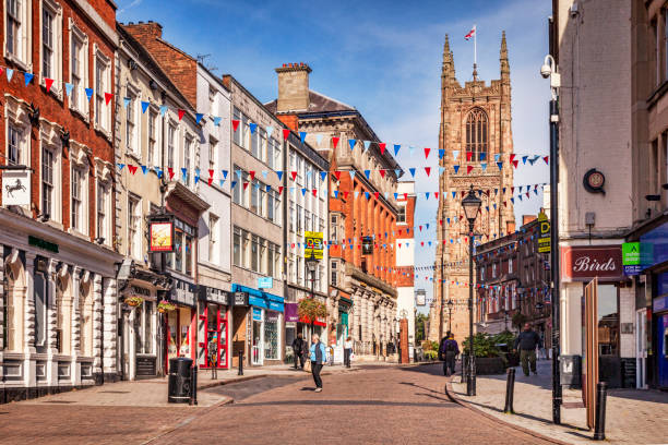 Shopping in Derby, UK stock photo