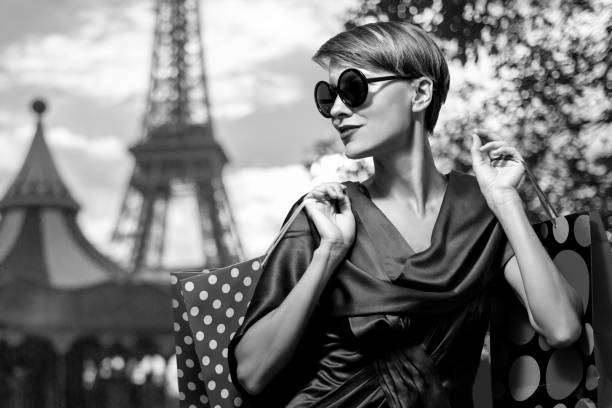 shopping in paris - paris fashion stock photos and pictures