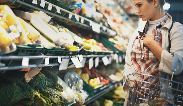 Shopping in supermarket. stock photo