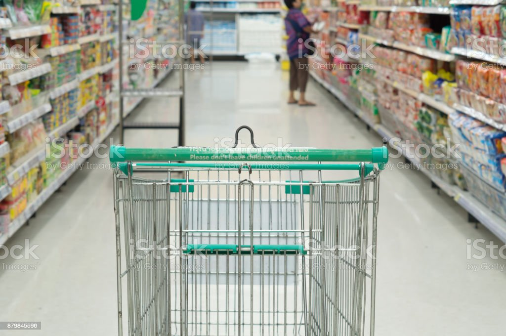 Shopping in supermarket stock photo