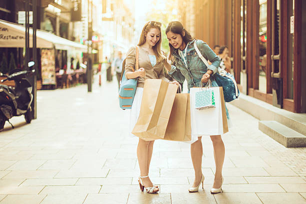 Shopping in the city stock photo