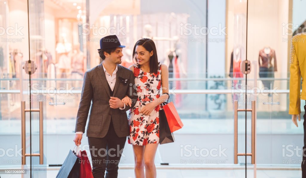 Shopping in the mall stock photo