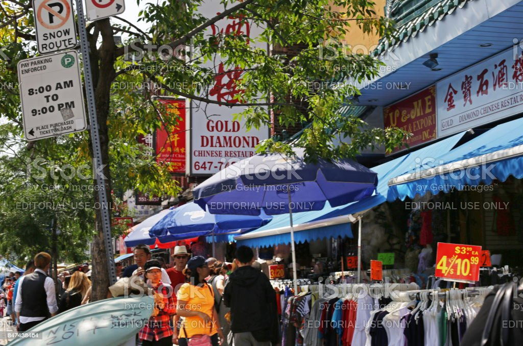Shopping in Toronto's Chinatown, Spadina Avenue in Summer stock photo