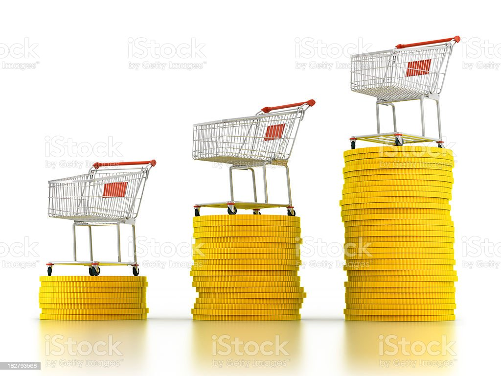 Shopping increase concept (Clipping path included) royalty-free stock photo
