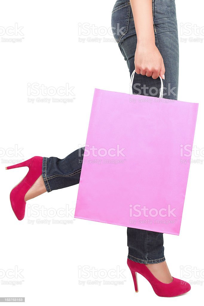 Shopping lady copy space royalty-free stock photo