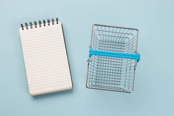 Shopping List and Basket stock photo