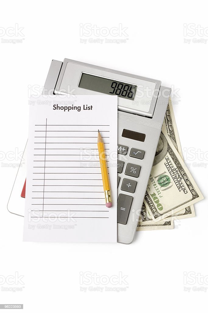 Shopping List and calculator royalty-free stock photo