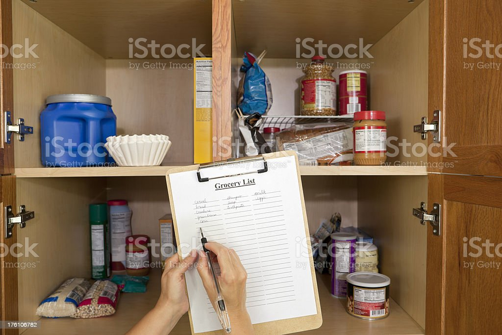 Shopping List and Food Pantry royalty-free stock photo