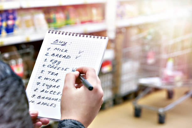 Shopping list in hands of woman in shop stock photo