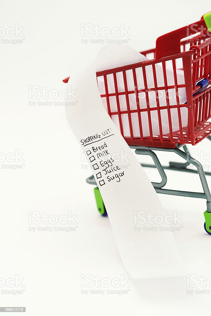 Shopping list of staple foods in tiny supermarket trolley royalty-free stock photo