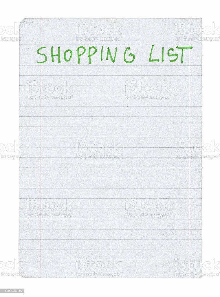 shopping list stock photo