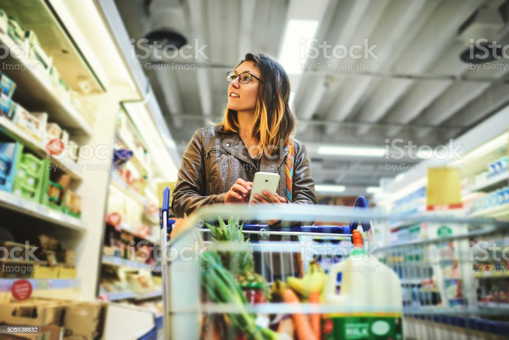 Shopping lists in app format stock photo