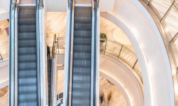 shopping mall and escalator, motion blur stock photo