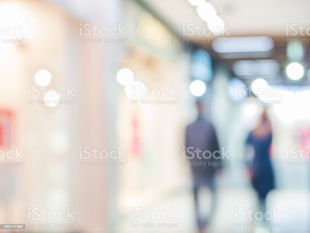 Shopping mall blur background stock photo