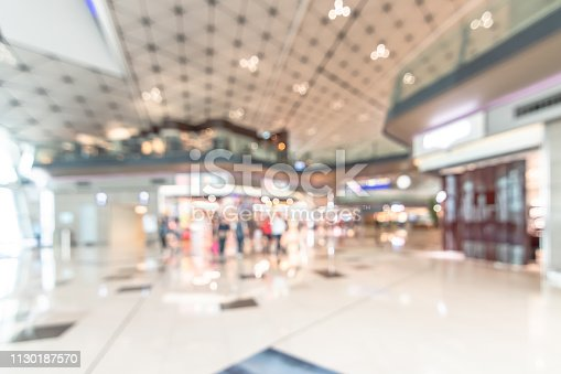 istock Shopping mall blur background with blurry interior view retail shop fashion window display store front and counter selling luxury merchandise products inside lobby hallway 1130187570