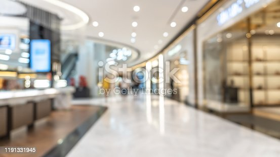 1047189958 istock photo Shopping mall blur background with blurry interior view retail shop fashion window display store front and counter selling luxury merchandise products inside lobby hallway 1191331945