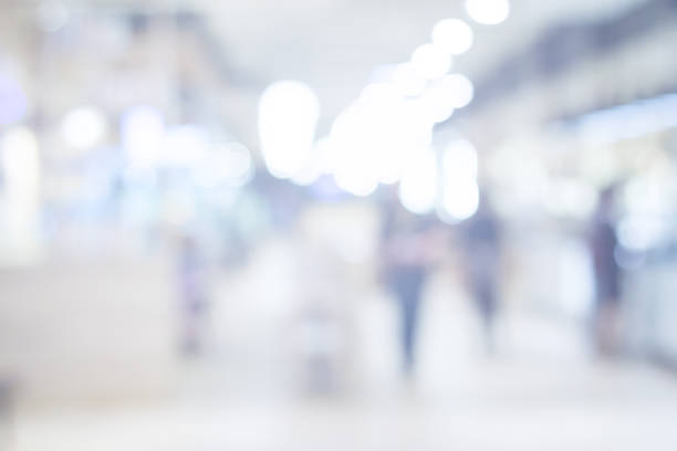 shopping mall blurry background stock photo