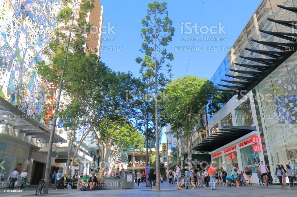 Shopping mall street Brisbane Australia stock photo